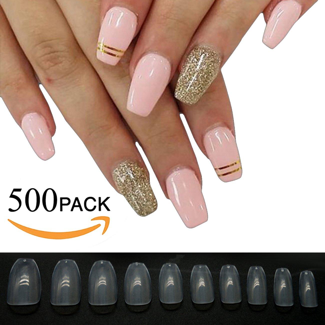 Amazon.com : 500pcs Coffin Nails Nail Tips Full Cover Acrylic False ...