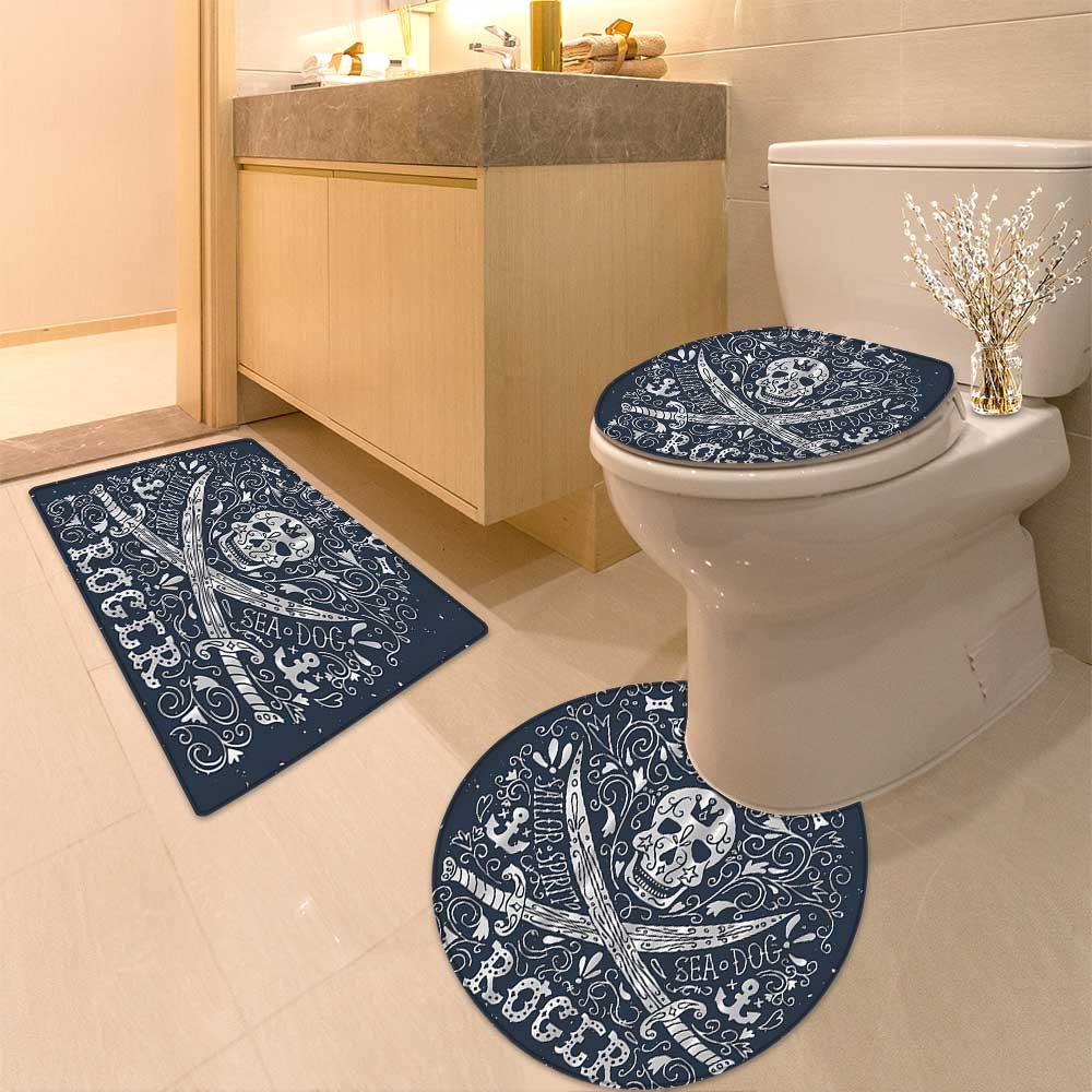 3 Piece Anti-slip mat setSkulArtistic Illustration In Classic Flora Frame Design Long Non Slip Bathroom Rugs by NALAHOMEQQ