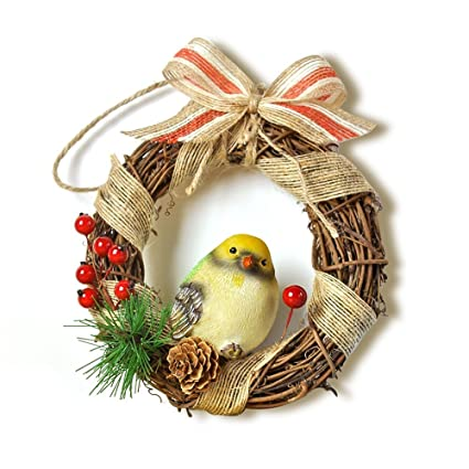 artificial plastic birds home outdoor garden ornament set easter xmas decoration for christmas tree yellow - Outdoor Christmas Tree Decorations For Birds