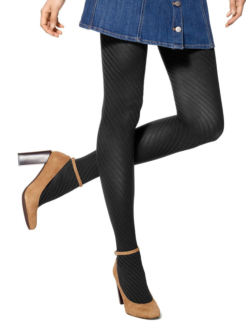 Hue Women's Diagonal Rib Control Top Tights, Black, S/M