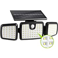 Solar Lights Outdoor,Dimunt 176 LED Wireless Led Solar Motion Sensor Lights Outdoor, 3 Heads 270. Wide Angle with 3…