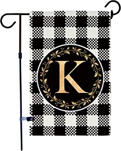 AKPOWER Small Garden Flag Black and White Plaid Check Vertical Double Sided Farmhouse Burlap Yard Outdoor Decor Classic Monogram Letter 12.5 x 18 Inch K