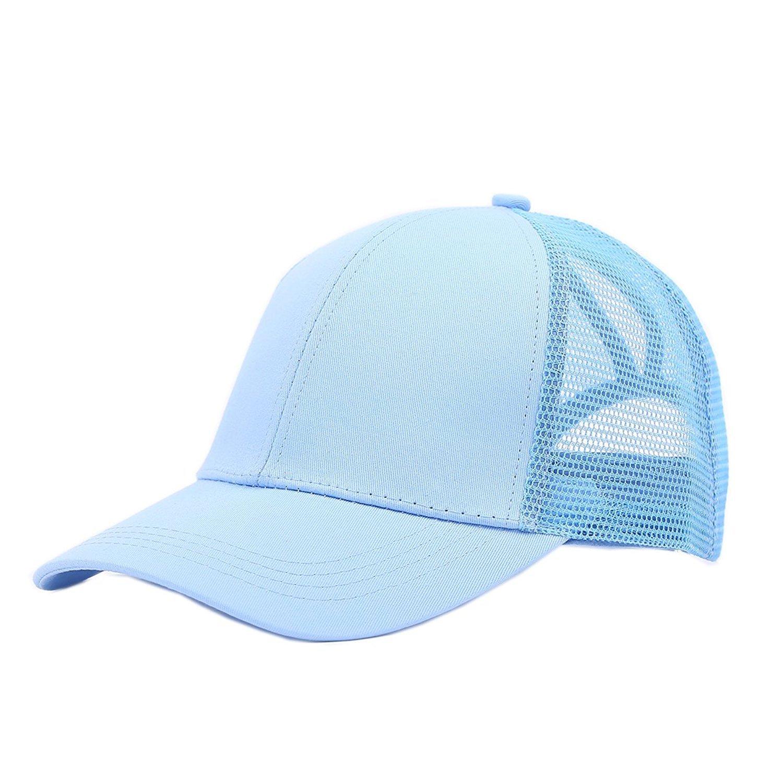 Amknn Ponytail Baseball Cap Hat Ponycaps Messy Mesh Buns Trucker Ponycaps Plain Baseball Visor Caps Dad Hat for Women Men