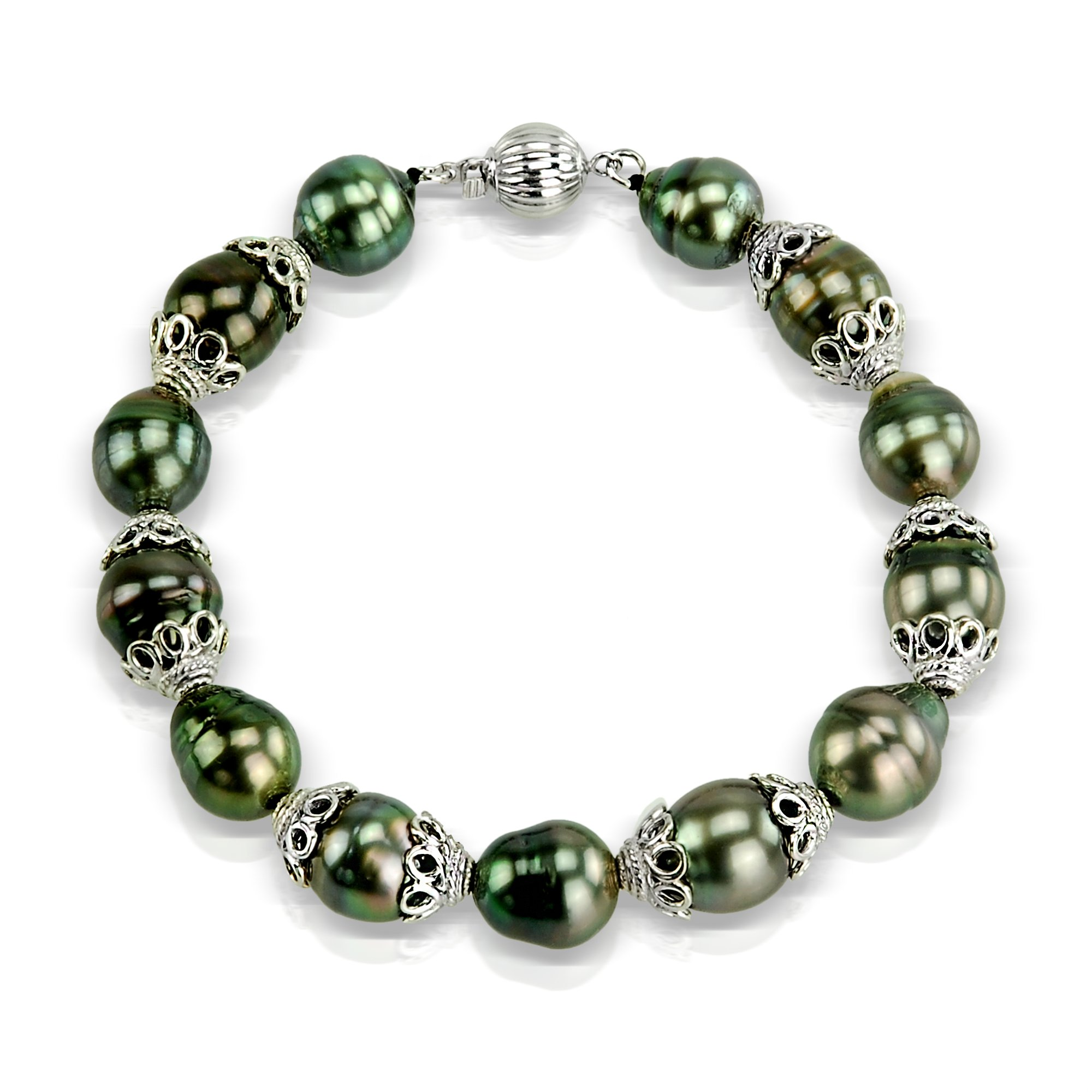Sterling Silver 9-11mm Black Off-shape Tahitian Cultured Pearl Ball Clasp Bracelet, 7.75''
