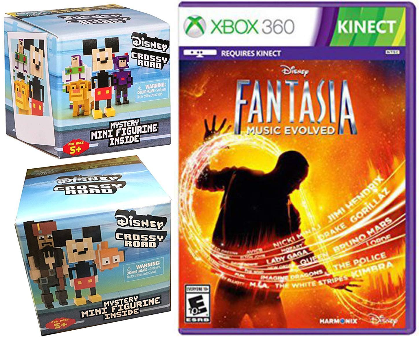 AYB Products Music Crossy Road Disney Pixelated Figure Pack Series 1 Blind Box Series 2 8-Bit Figure /& Fantasia Evolved Xbox 360 Kinnect Video Game Character Bundle