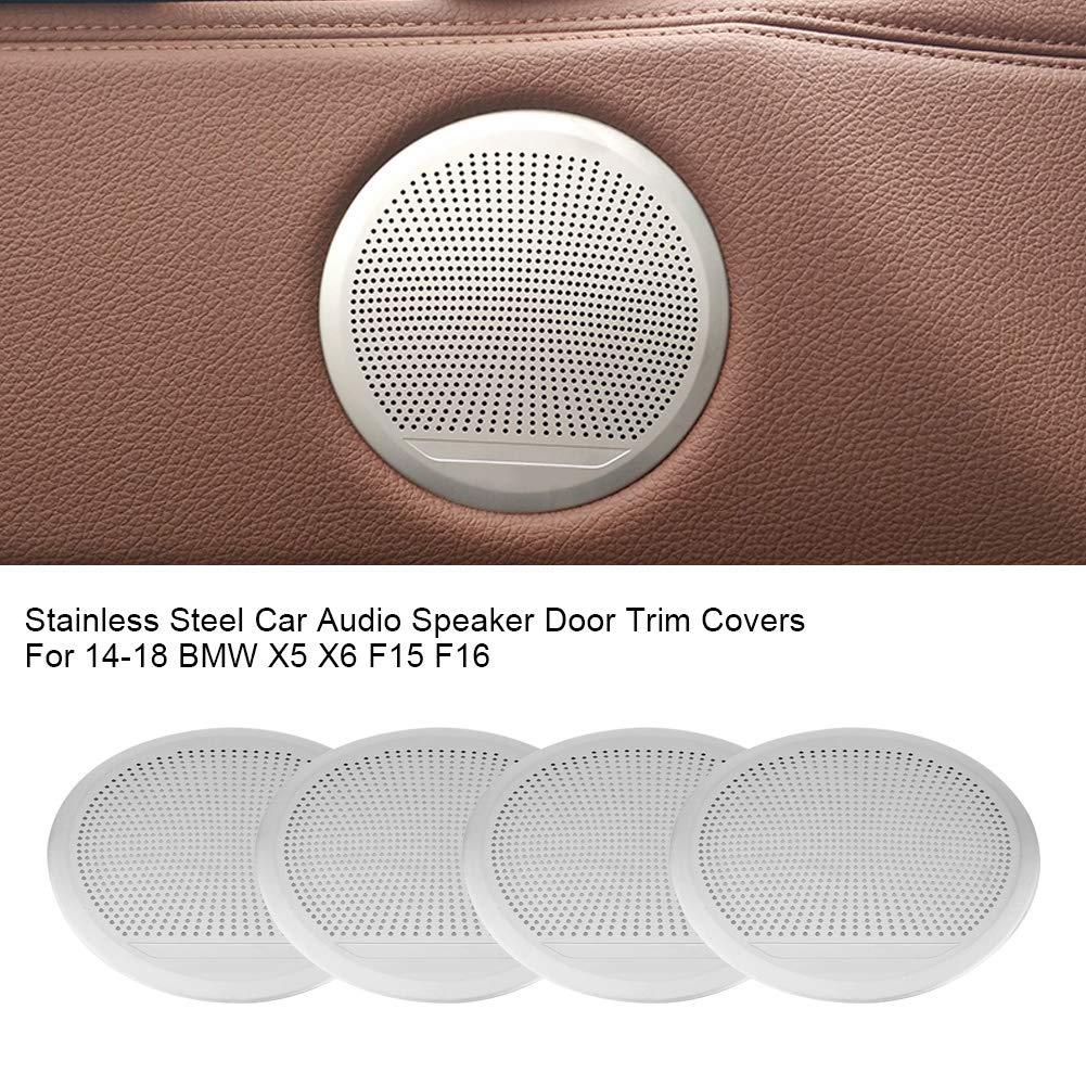 Side Door Speaker Cover 4PCS Stainless Steel Car Audio Speaker Door Trim Covers Fitment for 14-18 X5 X6 F15 F16
