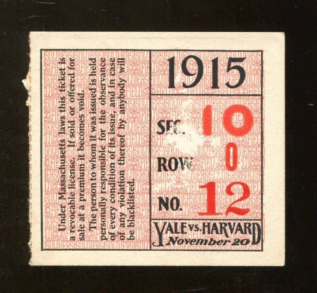 1915 Yale Bulldogs v Harvard Crimson Football Ticket 11/20/15 Harvard Stadium