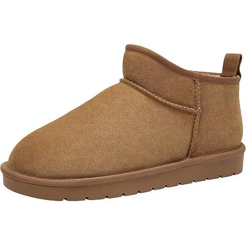CAMEL CROWN Zapatos de Casa Botas de Invierno Hombre Espesar Zapatillas de Casa Unisexo Botas de Nieve Botines Fluff Antideslizantes Interiores y ...