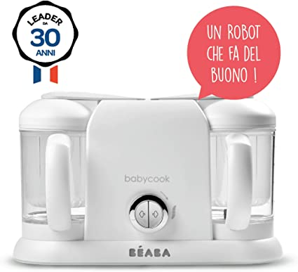 Béaba Babycook Duo Robot de cocina infantil 4 en 1, Tritura, cocina y cuece al vapor, Cocción rápida en 15 minutos, Comida casera para bebés y niños, Capacidad XXL: 2 x 200