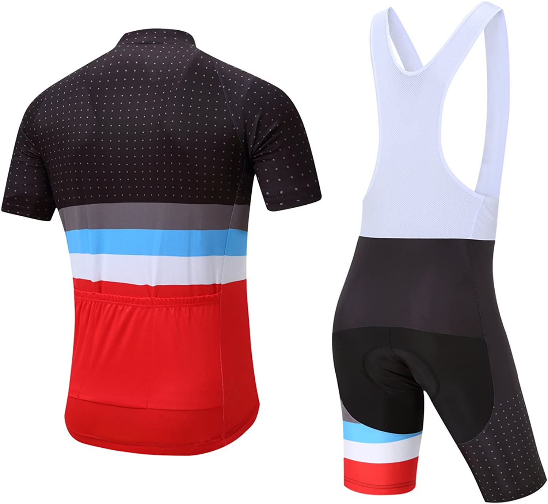 KJX5377 Road Men Team Bicycle Cycling Polyester Short Sleeve Jersey and bib Shor