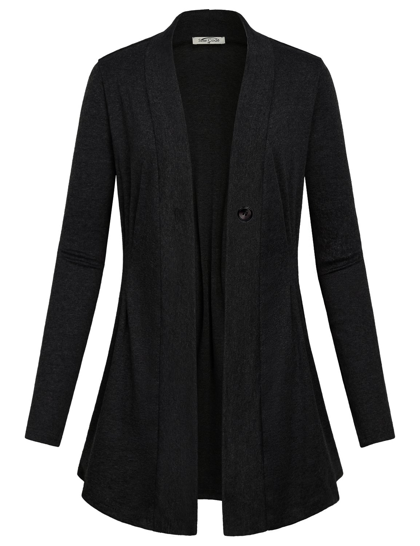 SeSe Code Boyfriend Cardigan, Girls Fashion Drape Knit Sweater Pleated Pointelle V Neck Long Sleeve Blazer Plain Shirt Modern Fit Flare Tunic Tops Flowy Business Casual Clothing Fall Coverup Black XL
