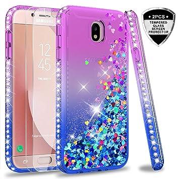 LeYi Compatible with Funda Samsung Galaxy J7 2017 / J7 Pro Silicona Purpurina Carcasa con [2-Unidades Cristal Vidrio Templado],Transparente Cristal ...