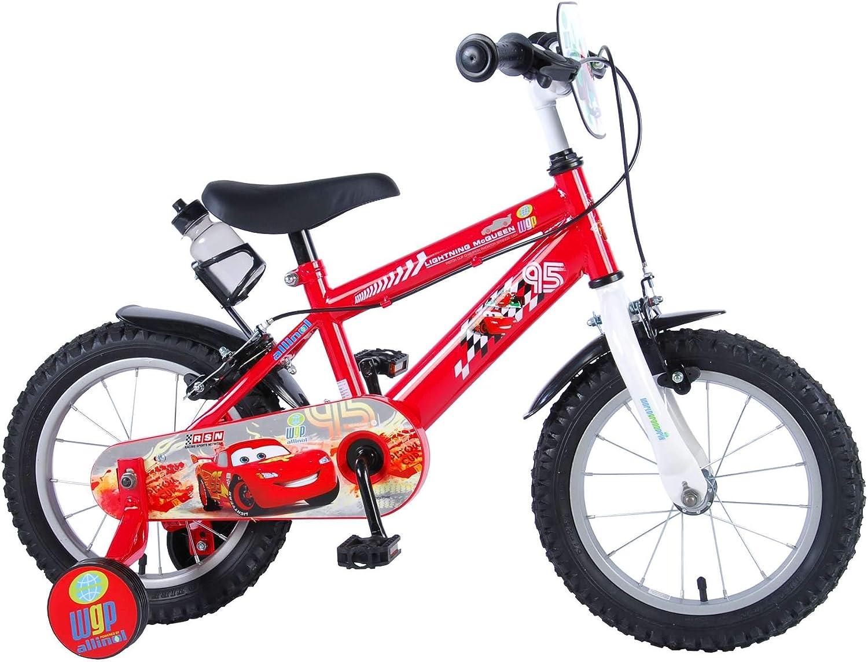 Bicicleta Niño Disney Cars 14 Pulgadas Frenos al Manilar Ruedas Extraíbles Rojo …