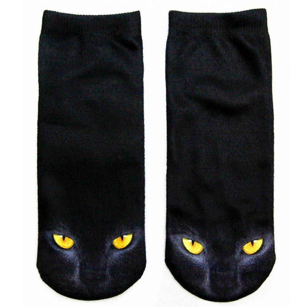 Gluckliy Women's Girls Cat Print Low Ankle Socks Funny Socks Cute Novelty Happy Socks Fitness Sport Socks