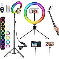 Action 10 cali RGB pierścień selfie, 26 kolorów RGB LED pierścień światło z dwoma stojakiem i uchwytem na telefon…