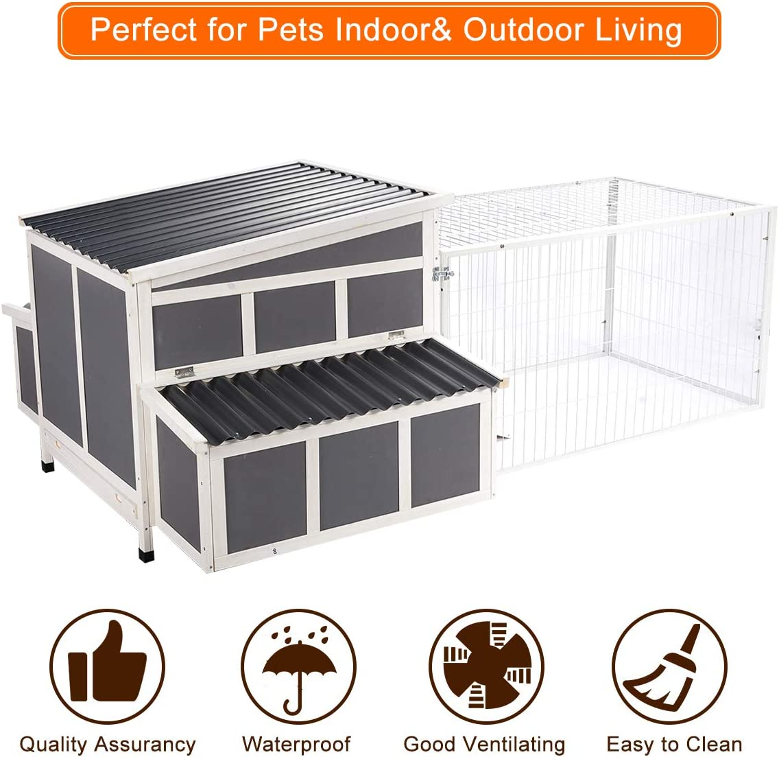 Esright 88 Large Chicken Coop Wooden Chicken Cage Hen House Outdoor Yard Poultry Pet Hutch for Small Animal Coops with Nesting Box and Chicken Run for 8-10 Chickens
