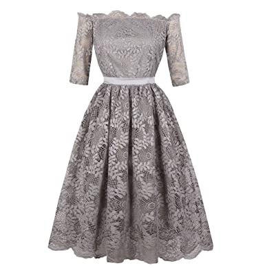 BiilyLi Women Vintage Rockabilly Evening Dresses 50S Beautiful Lace Slim Elegance Hepburn Style Cocktail Swing Dress