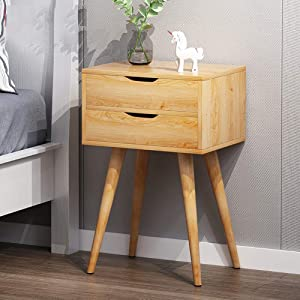 Mid-Century Modern End Table,Side Table Nightstand with Storage Drawer Solid Wood Legs Living Room Bedroom Furniture,Natural Wood Tone Log-c 40x30x61cm(16x12x24inch)