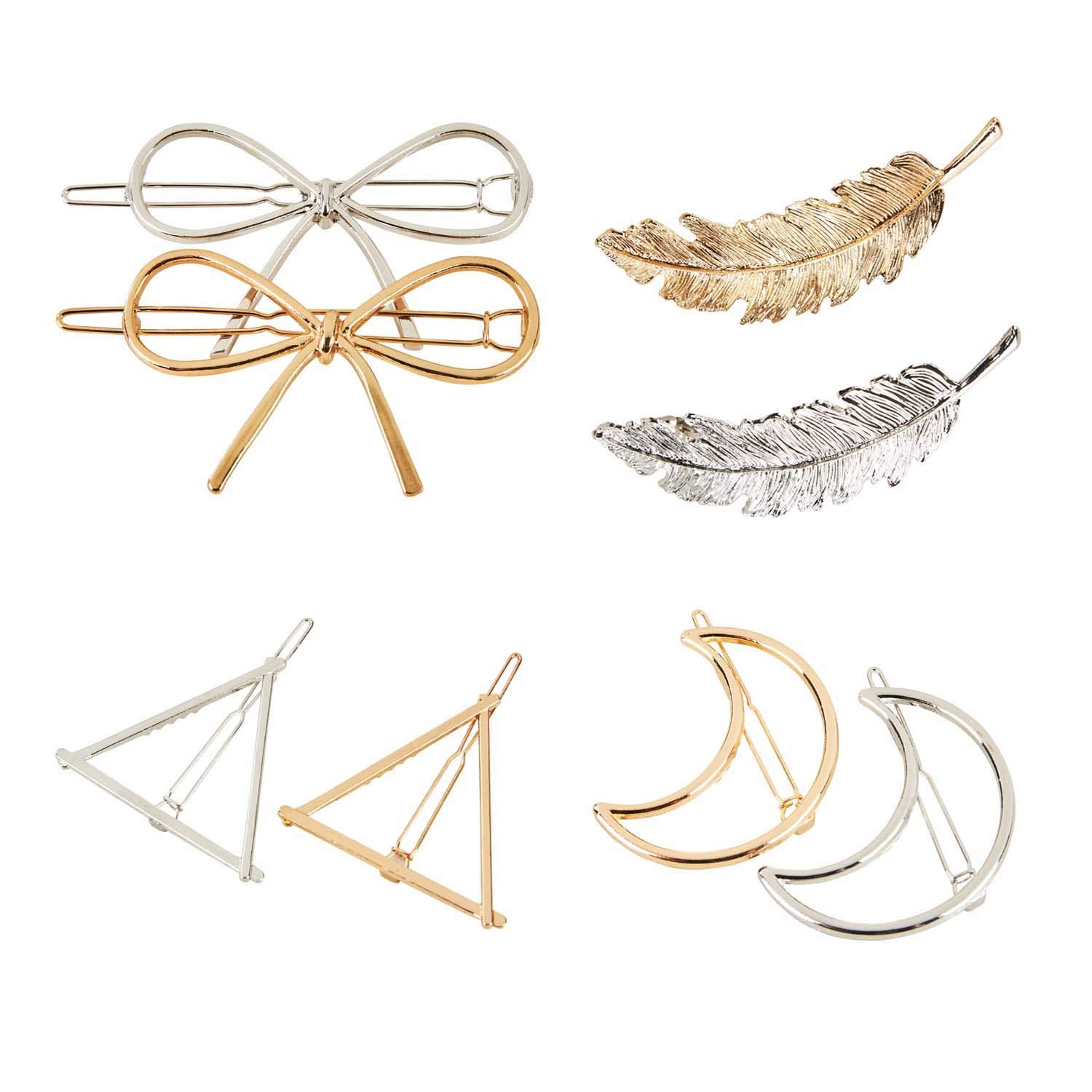 Bridess 8pcs Hair Pins Moon Triangle Circle Leaves Barrettes Hair Clips for Women Z-638-L-3713