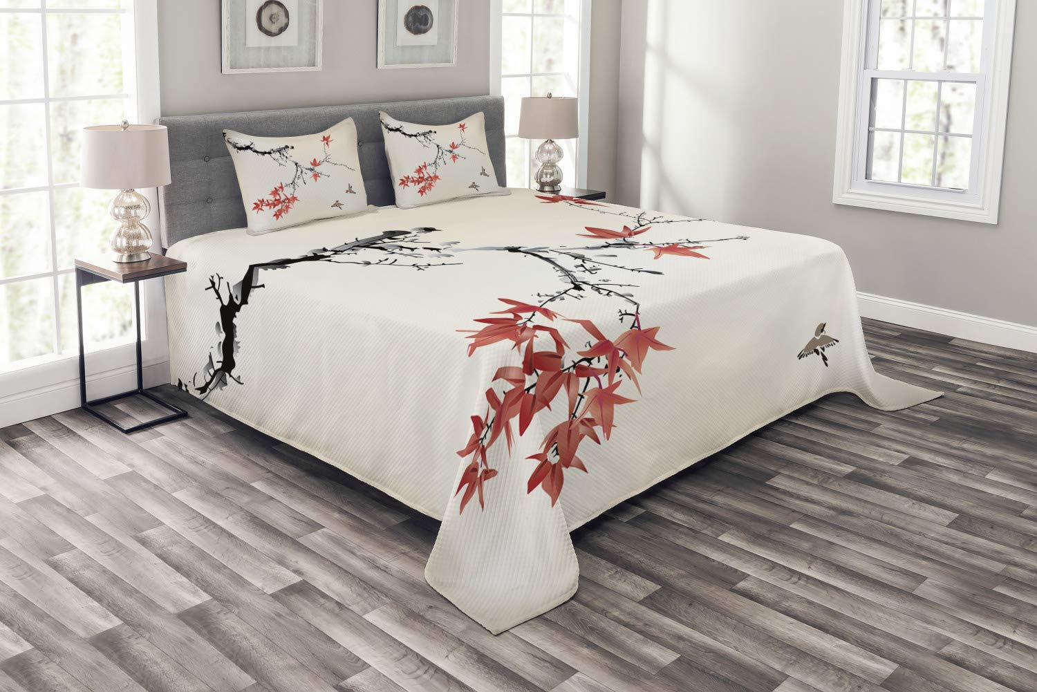 Ambesonne Japanese Bedspread, Cherry Blossom Sakura Tree Branches Romantic Spring Themed Watercolor Picture, Decorative Quilted 3 Piece Coverlet Set with 2 Pillow Shams, King Size, Coral Black