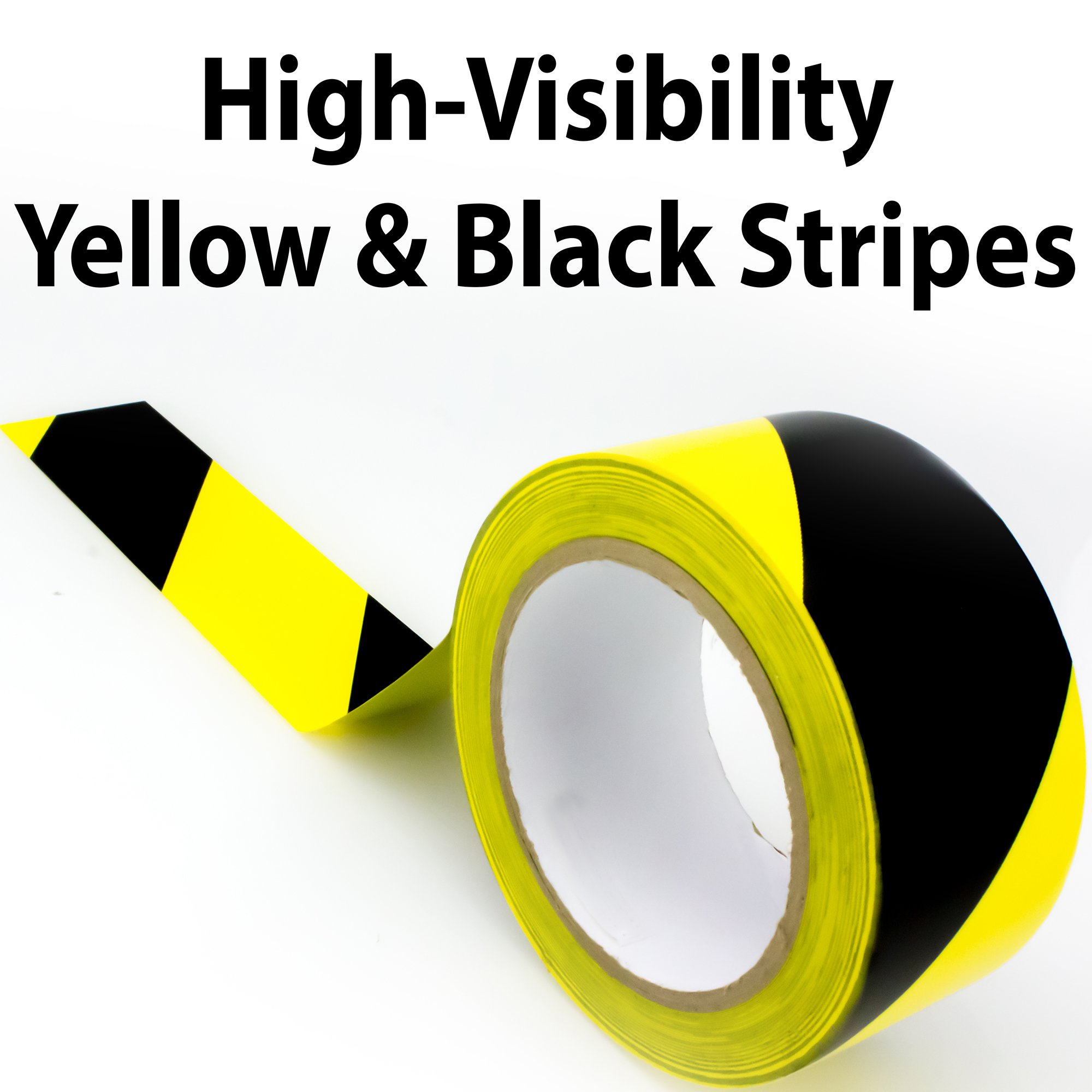 Double-Roll of Ultra-Adhesive, Black & Yellow Hazard Tape for Floor Marking. Mark Floors & Watch Your Step Areas for Safety with High-Visibility, Anti-Scuff, Striped PVC Vinyl by Nova Supply by Nova (Image #7)
