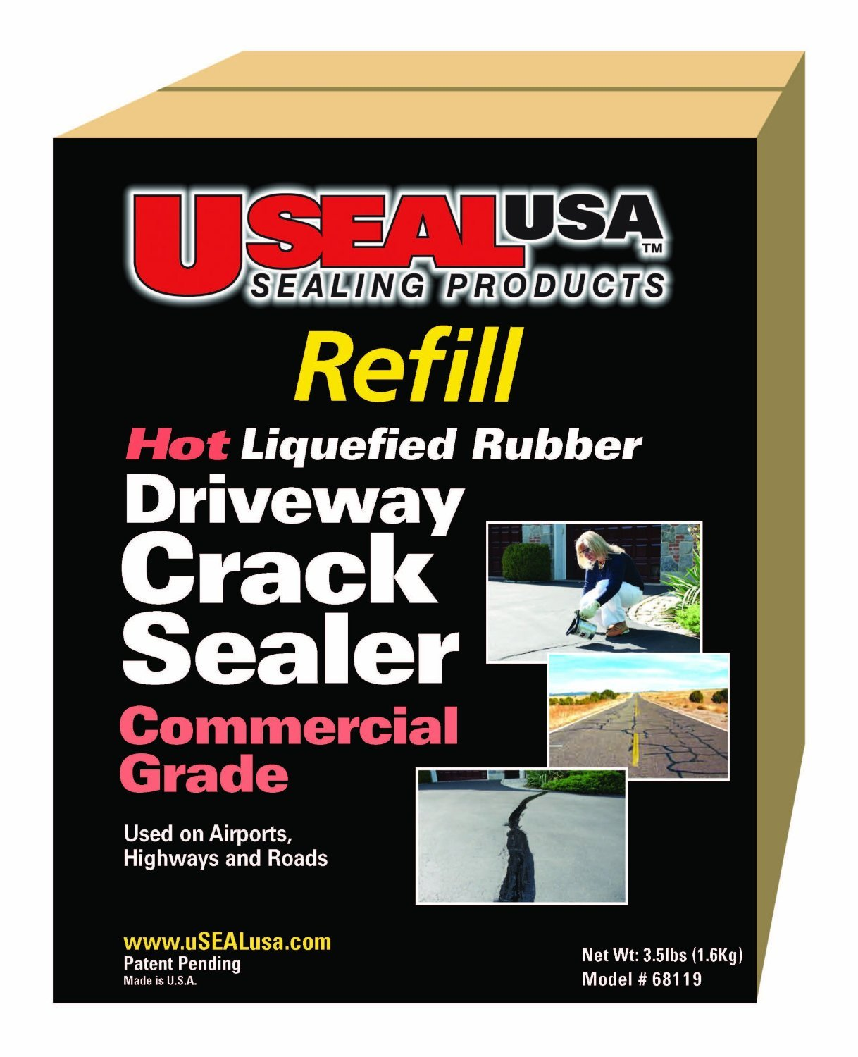 Useal USA Hot Liquefied Rubber,driveway Crack Sealer Refill Kit, 80 Ft, #68120