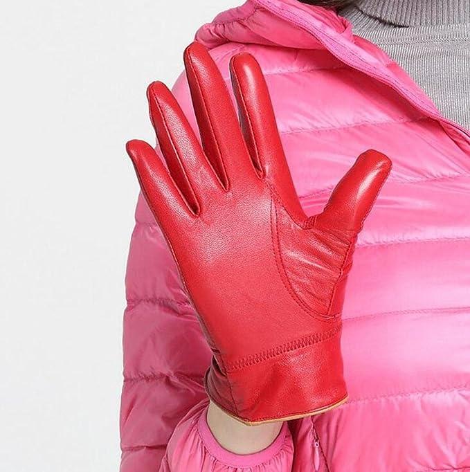 WYXIN Guantes de Cuero Gruesos de Mujer Caliente Guantes de Piel de Oveja Grises y Femeninos de otoño e Invierno Rojo Negro Beige Marrón, Red: Amazon.es: ...
