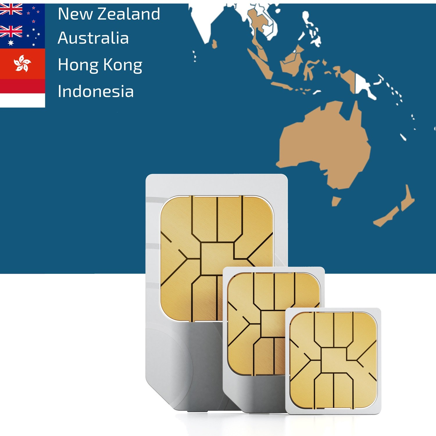 travSIM: Prepaid 3UK Data SIM Card for South Eastern Asia and Oceania with 12 GB Data Valid for 30 Days (Coverage in New Zealand, Australia, Hong Kong and Indonesia at 3G/4G LTE Internet Speed) by travsim