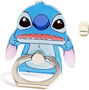 ZOEAST(TM) Phone Ring Stand Make Faces Super Hero Universal 360° Adjustable Holder Car Hook Grip Stent Mount Kickstand Compatible with All iPhones Samsung Android Pad Tablet (Stitch)