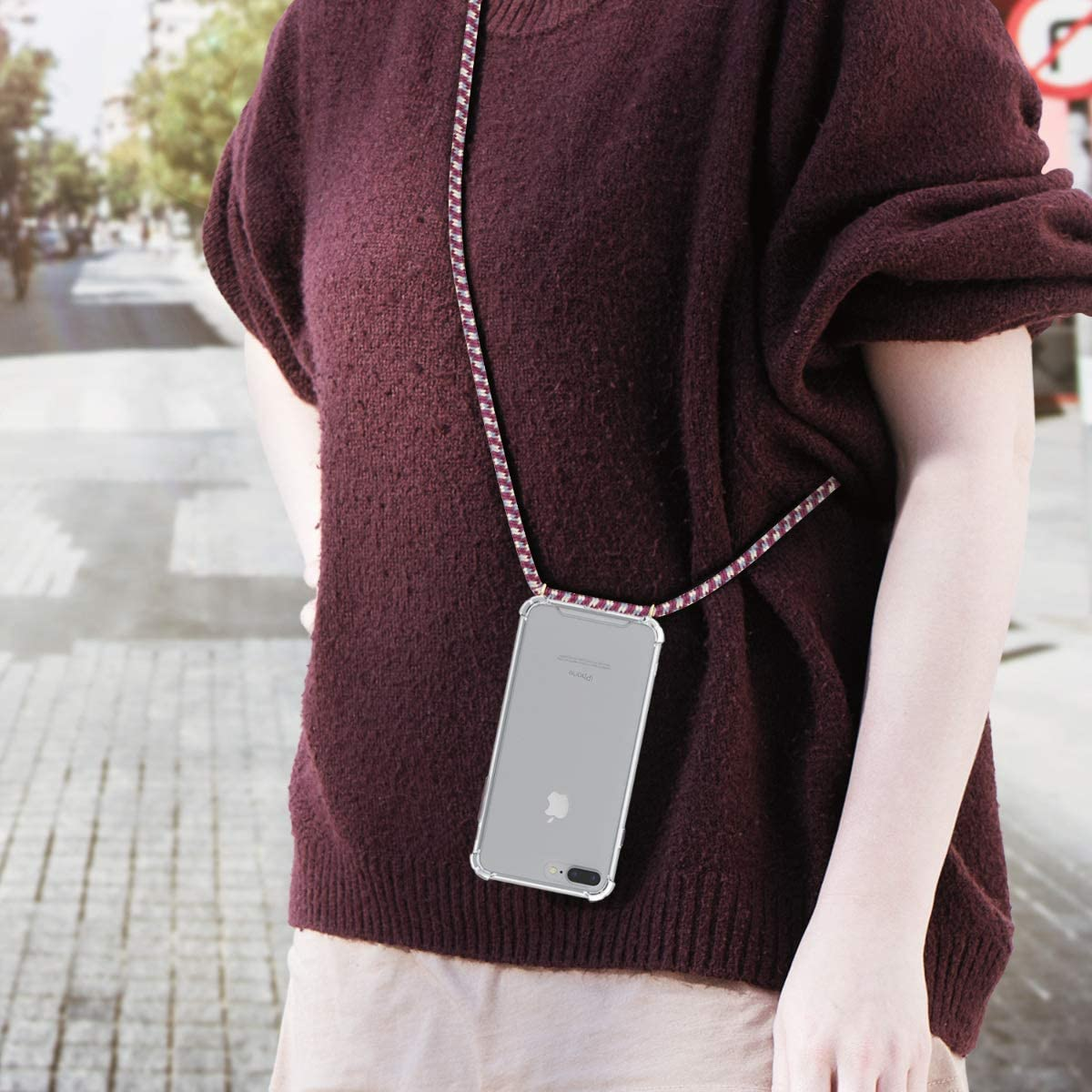Transparent//Violet//Yellow kwmobile Crossbody Case Compatible with Apple iPhone 7 Plus Clear Transparent TPU Cell Phone Cover with Neck Cord Lanyard Strap 8 Plus