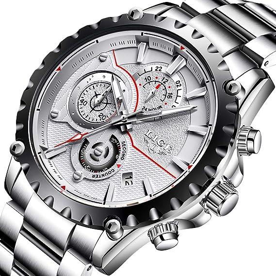 Para hombre relojes impermeable Deporte Cuarzo AnalóGico De Acero completo hombres Lige marca Business negro reloj de pulsera: Amazon.es: Relojes