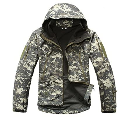 e5c87af3b4681 Shark Skin Softshell Military Tactical Jacket Men Waterproof Coat Camouflage  Hooded Army Camo Clothing Acu S
