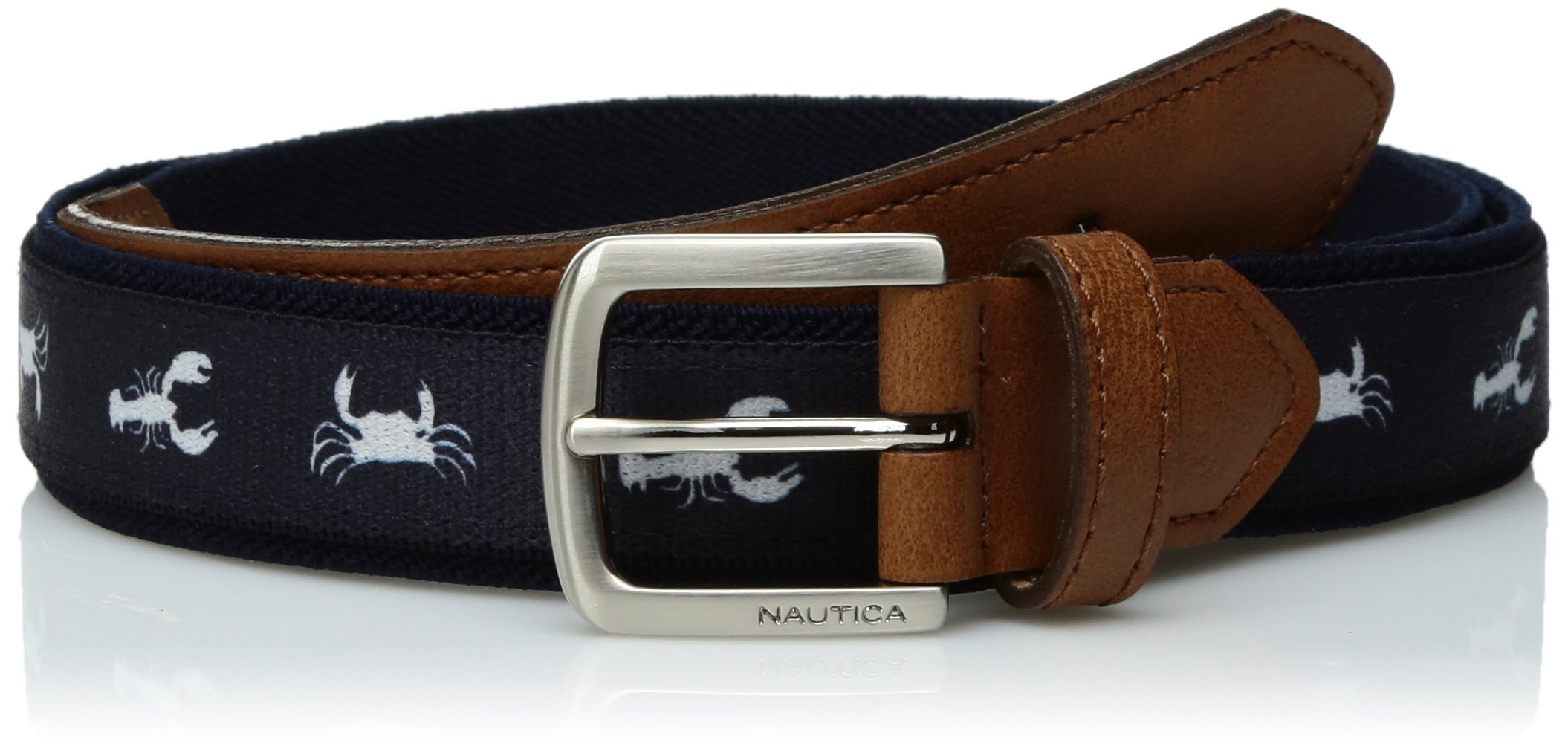Nautica Big Boys Novelty Web Belt with Leather Loop and Tip, Navy, 24