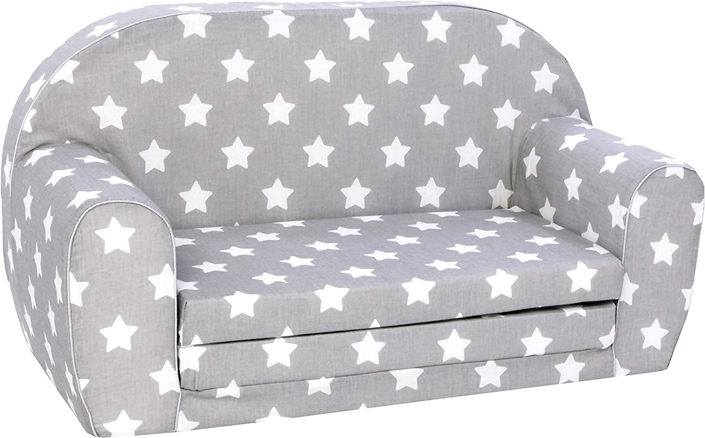 Knorrtoys 68441 sofá para niños Gris, Blanco - Sofás para niños (Gris, Blanco, Algodón, Espuma, Estampado, 30 kg, Lavado de Manos)
