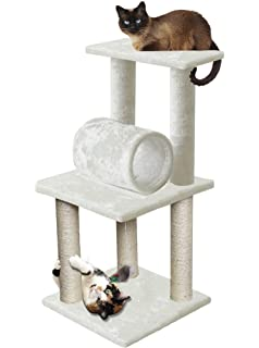 Attractive 33u201d White Pet Cat Tree Play Tower Bed Furniture Scratch Post Tunnel Toy