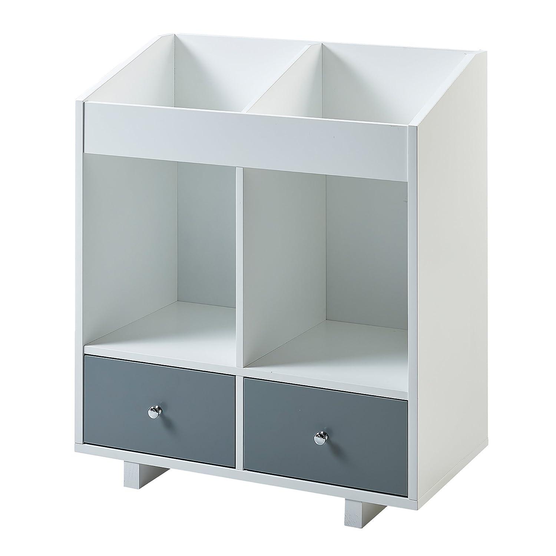 Versanora - Space Saver Modern & Stylish Minimalista 2 Section Storage Stand - White/Grey