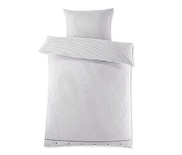 Tchibo Perkal Bettwäsche Mit Reißverschluss Blau Weiß Gestreift