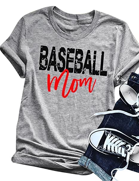 2693b7d3 Image Unavailable. Image not available for. Color: ZJP Women Casual O Neck Short  Sleeve Baseball Mom Letter Print T-Shirt Tops Tee