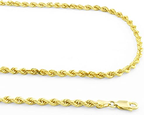 """Real 10K White Gold 1.5mm to 7mm Diamond Cut Rope Chain Pendant Necklace 14/""""-30/"""""""