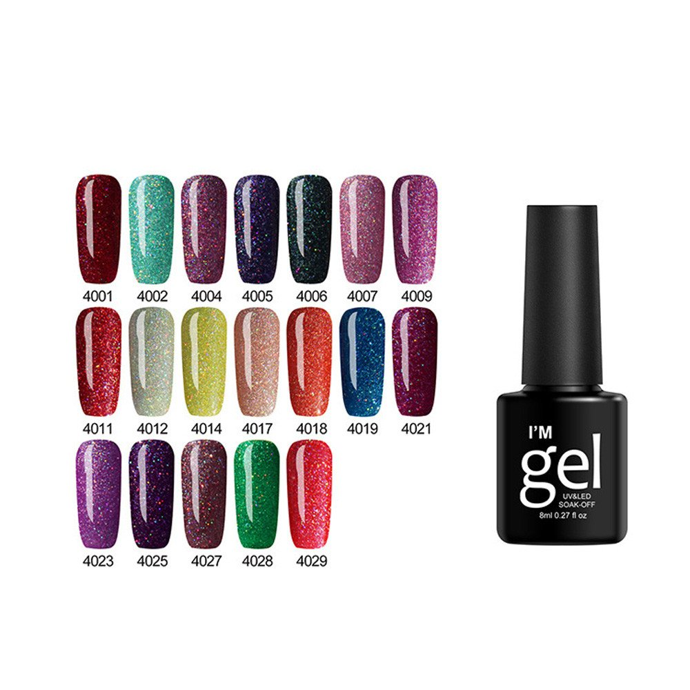 Aoukey Gel Nail Polish - UV LED Soak Off Nail Gel Nail Shining Gel Polish Soak Off Nail Topcoat Base Coat Gel Varnish