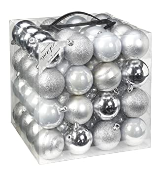 Glitzer Christbaumkugeln.64x Kunststoff Christbaumkugeln 6cm Kugel Box Glanz Glitzer Matt Dekor Inge Glas Farbe Silber