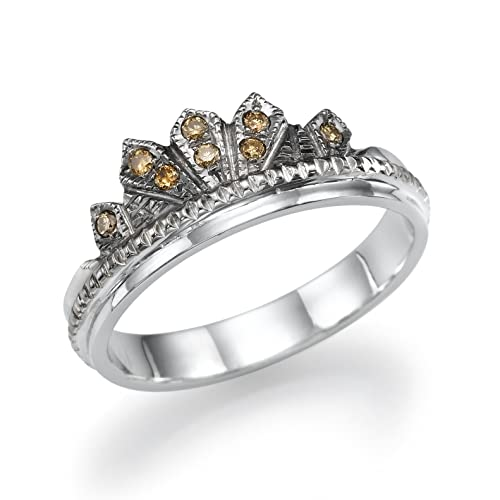 crown wedding ring for women carved champagne diamond ring in 14k white gold vintage style - Crown Wedding Rings