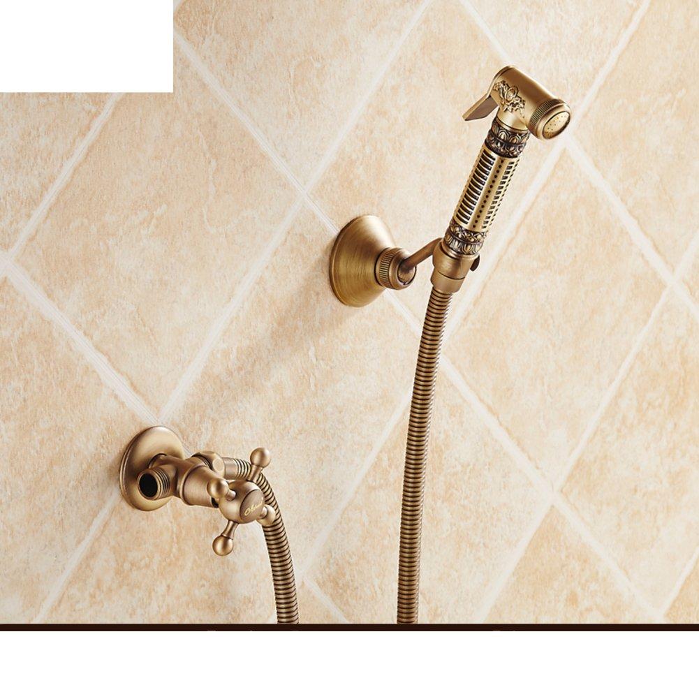 European-style antique copper toilet spray faucet and bidet wash-kit/ angle valve pressurized spray guns/[Angle pressurized gun]-B hot sale 2017