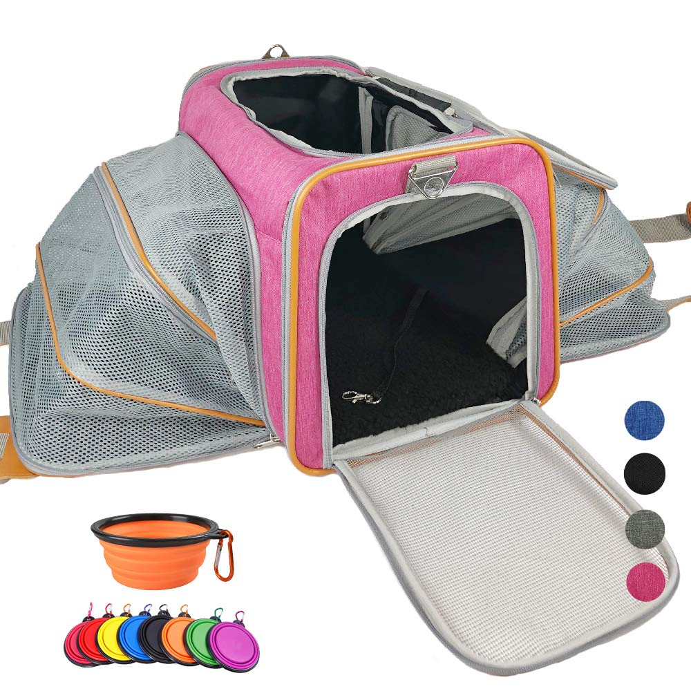 Adorabae Airline Approved Soft Sided Expandable Foldable Luxury Two Side Expansion for Cats and Small Dogs Pink