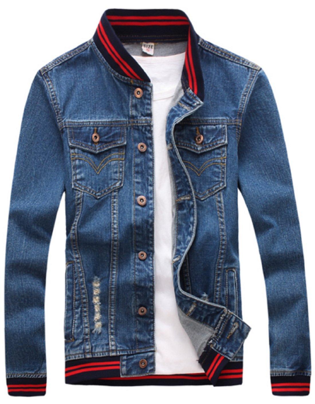Olrek Men's Casual Wear Cotton Denim Jacke(Red blue,L size)