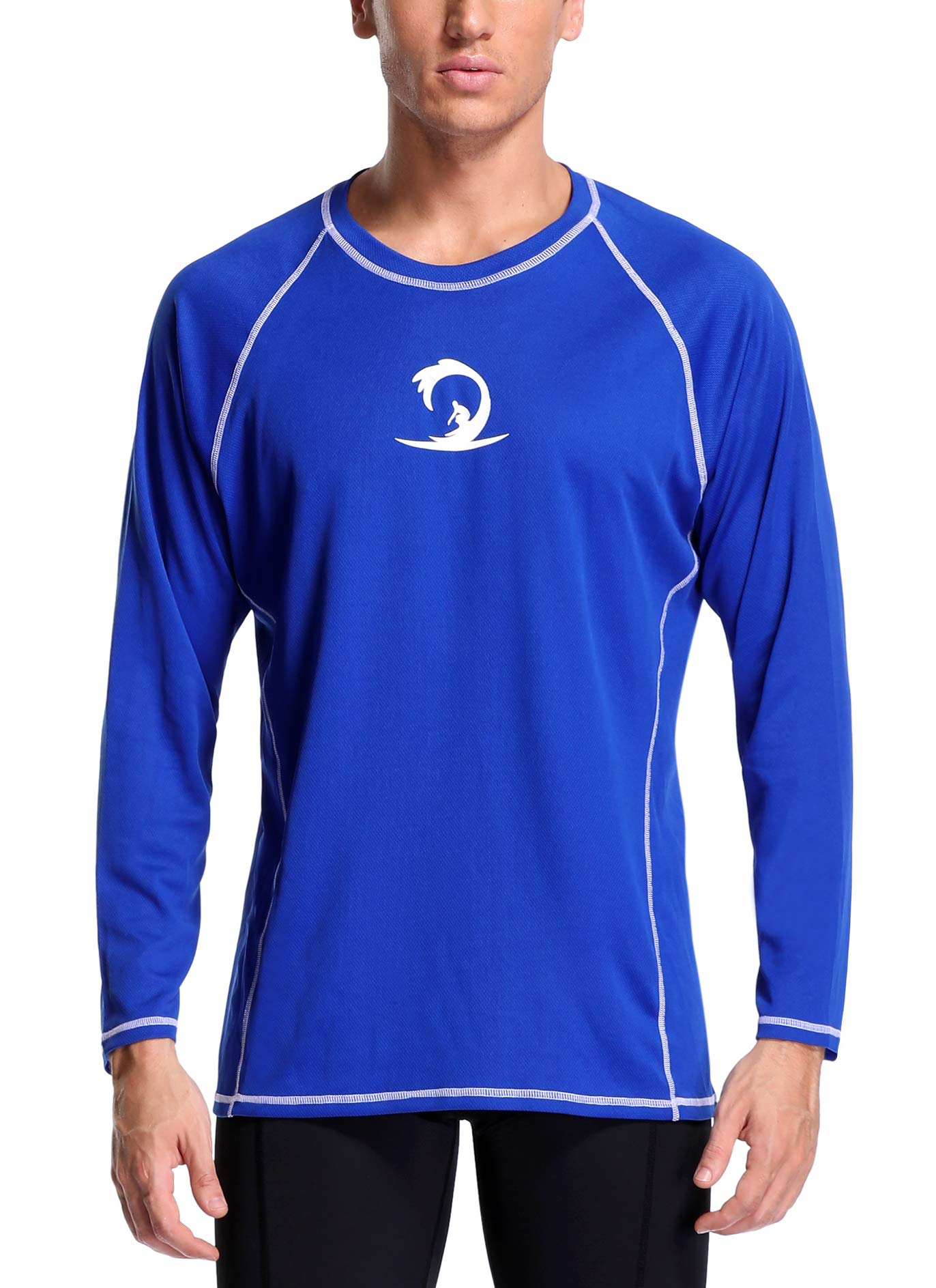 Sociala Men's UPF 50+ Rashguard Long Sleeve Workout T-Shirts L Blue by Sociala