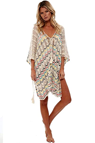 edde6f44fc NFASHIONSO Women's Fashion Swimwear Crochet Tunic Cover Up/Beach Dres,Beige  Colour