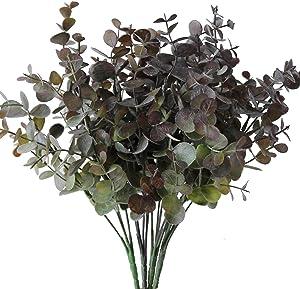 Jasming 4pcs Artificial Plastic Flowers Eucalyptus Plants Fake Shrubs Faux Plants Bushes House Office Garden Indoor Outdoor Decor (Purple)