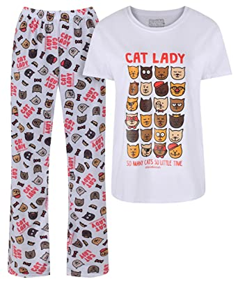 David and Goliath Cat Lady Womens Pyjamas  Amazon.co.uk  Clothing e46a9016f