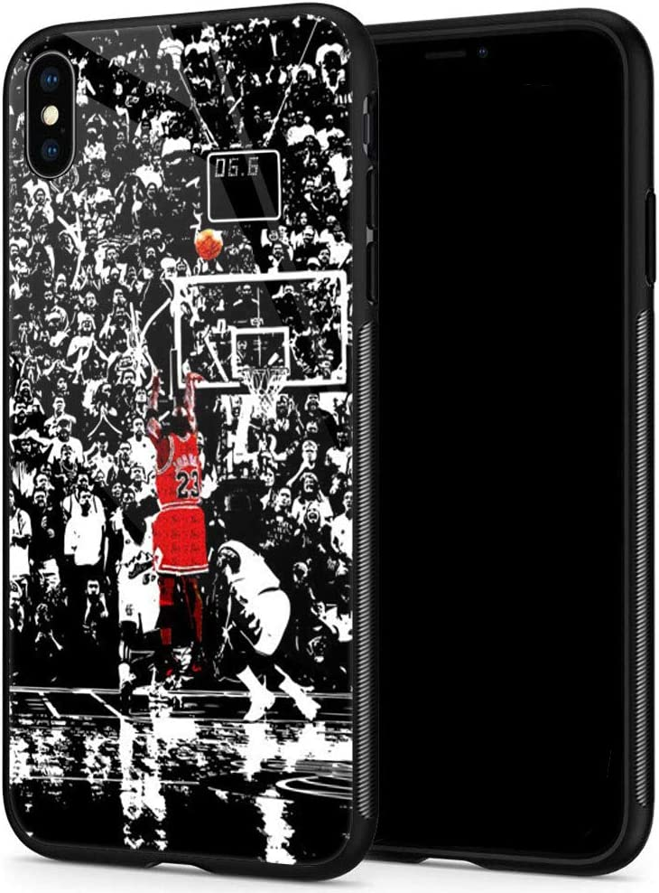 Lxury Design iPhone XR Case, Basketball Player 1081 Pattern,9H Tempered Glass iPhone XR Cases for Men Women Fans TPU Shock Protective Anti-Scratch Cover Case for iPhone XR